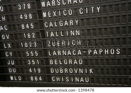 A flight information panel from the Frankfurt airport.