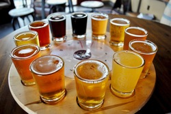 A flight of beer samplers. Beers range from light pale ales through dark stouts. Pilsner, lager, bock, Kölsch, bitter, Irish Red Ale, American Brown Ale, Amber, Brown Ale, Porter, India Pale Ale (IPA)
