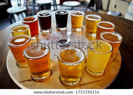 A flight of beer samplers. Beers range from light pale ales through dark stouts. Pilsner, lager, bock, Kölsch, bitter, Irish Red Ale, American Brown Ale, Amber, Brown Ale, Porter, India Pale Ale (IPA) Stockfoto ©