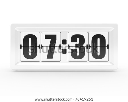 A flip clock on a white background