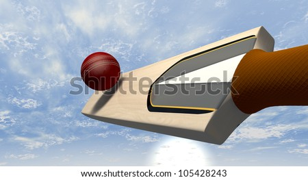 A floating cricket bat hitting a red leather cricket ball against a blue sky