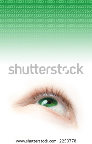 a floating green eye illustration looking up and dollar signs