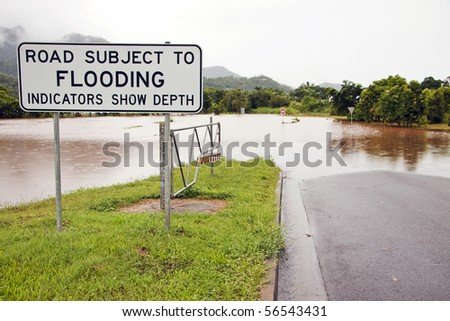 A flooded road after heavy rains