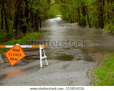 A flooded road in  Texas.