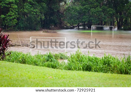 A flooded soccer field after heavy rain in Queensland, Australia