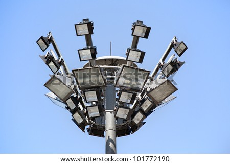 A floodlight on blue sky