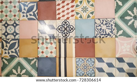 a floor of an old house in france with mosaic tile in cement tiles #728306614