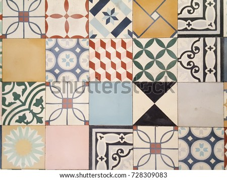 a floor of an old house in france with mosaic tile in cement tiles #728309083
