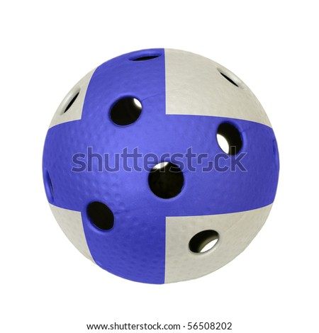 A floorball ball with flag of Finland.
