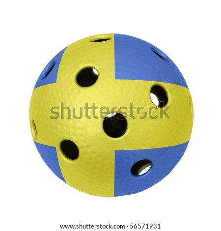 A floorball ball with flag of Sweden.