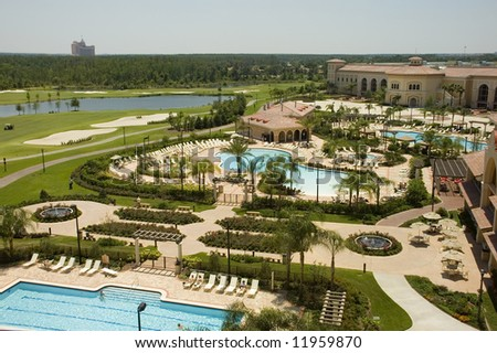 A Florida resort with pools, gardens and a golf course.
