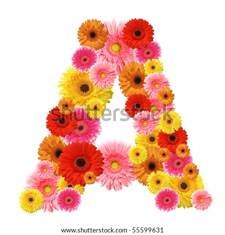 A, flower alphabet isolated on white