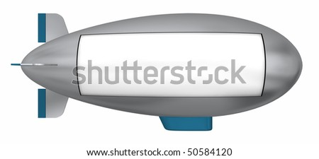 A flying dirigible sign board ready to be customized. Isolated on white