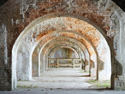 A Focus Stacked Image of Some of the Arches in the Civil War Fort at Fort Pickens National Park, Florida