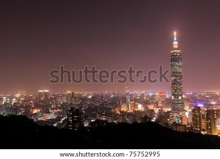 A fogy night after the rain in Taipei City, Taipei Taiwan