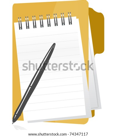 A folder lays open with blank paper