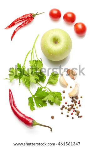 A food and healthy lifestyle concept: Italian herbs and spices. Top view. Isolated on white. #461561347