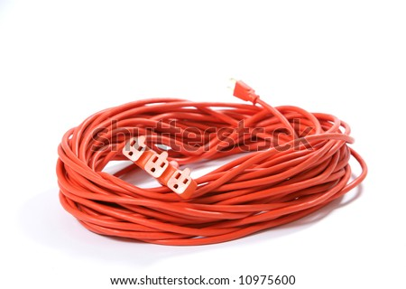A 100 foot orange extension cord coiled up with a three way splitter