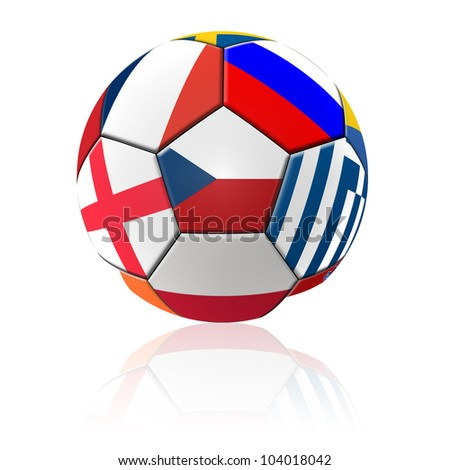 A football artwork with european flag with reflection on white background.