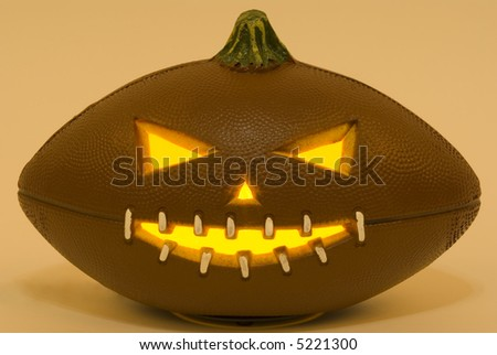 A football jack-o'-lantern