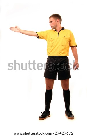 a football judge with symbol finger
