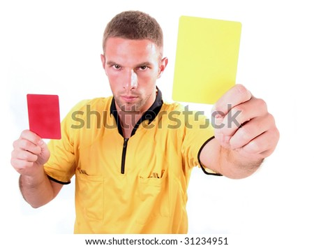 a football judge with yellow and red card