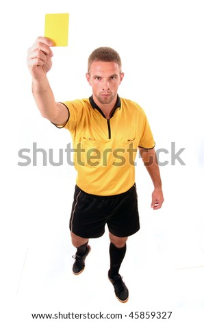 a football judge with yellow card