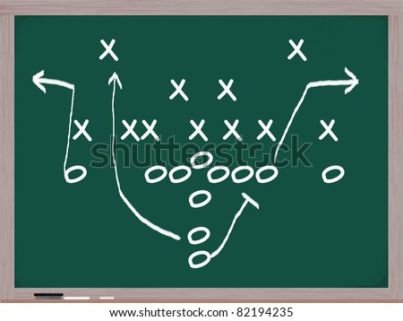 A football play diagram on a chalkboard in white chalk showing the formations and assignments.