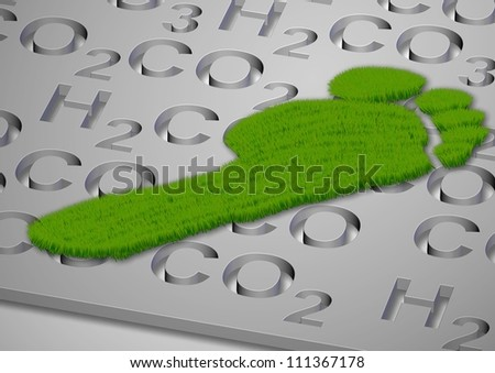 A footprint made from grass with carbon compounds formulas under it / Carbon footprint in grass