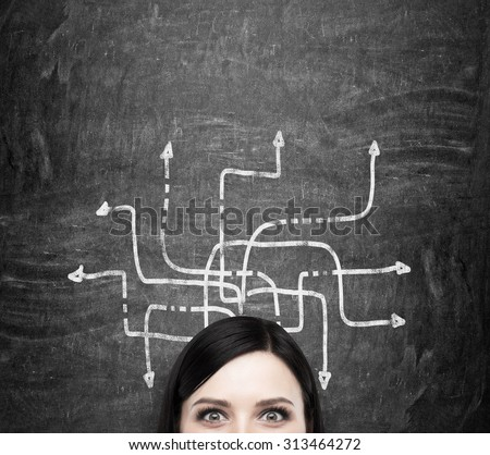 A forehead of the brunette woman who is pondering about possible solutions of the complicated problem. Many arrows with different directions are drawn around her head. Black chalkboard background.