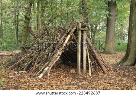 A Forest Shelter Made From All Natural Materials. #223492687