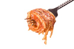 A fork with spaghetti wrapped around it and isolated on a white background.  Image was shot against a lighted white backdrop and is not a cutout.