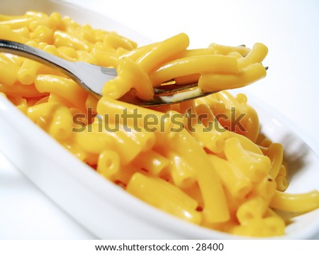 A forkful of macaroni and cheese