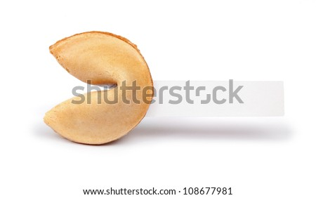 A fortune cookie with a blank piece of paper isolated on white.