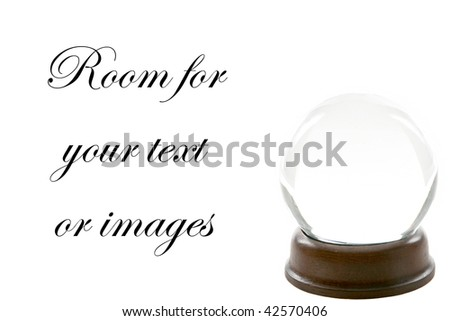 a fortune teller crystal ball, isolated on white, with room for your text