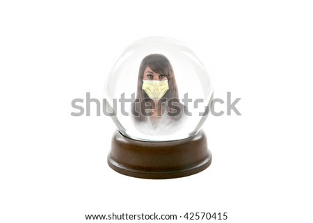 "a fortune teller crystal ball, shows a ghostly image of a beautiful young woman wearing a paper mask to protect herself from the ""Mexican Swine Flu, aka ""H1N1 Virus"", isolated on white"