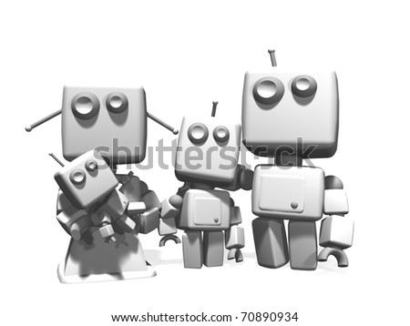 A four white plastic robots family, with mother, father, young son and a baby; 3D computer generated on white background