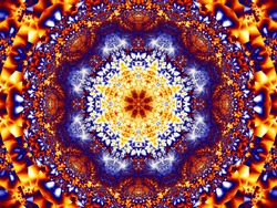 A fractal symmetrical pattern of red, yellow, brown, and blue elements, similar to a Persian carpet.