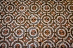 A fragment of a floor mosaic in the Florentine Baptistery of San Giovanni. Florence, Tuscany, Italy