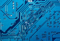A fragment of a microelectronic circuit Board