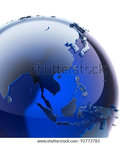 A fragment of blue glass globe with stylized faceted continents of frosted glass, a little stand out from the ocean surface