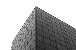 A fragment of modern building on white background. Black-and-white.