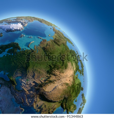 A fragment of the Earth with high relief, detailed surface, translucent ocean and atmosphere, illuminated by sunlight