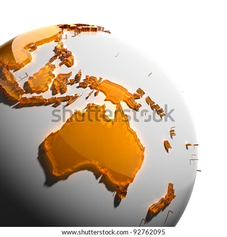 A fragment of the globe with the continents of thick faceted amber glass, which falls on hard light, creating a caustic glare on faces. Isolated on white background