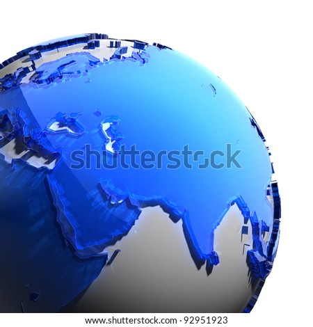 A fragment of the globe with the continents of thick faceted blue glass, which falls on hard light, creating a caustic glare on faces. Isolated on white background