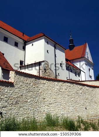 A fragment of the walls of the monastery and shrine of the Annunciation in Kazimierz Dolny on the Vistula River in Poland