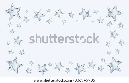 A frame made up of blue water stars.