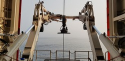 A Frame on the vessel waiting for arrival robotics Remote Operated  Vehicle (ROV)