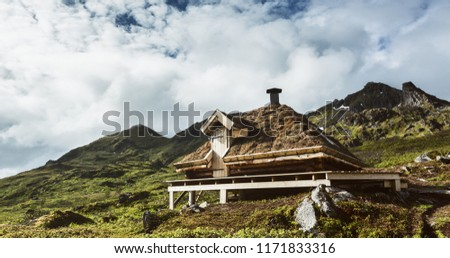 A free for the public emergency shelter hut along a hiking trail on the Lofoten Islands, Norway. #1171833316