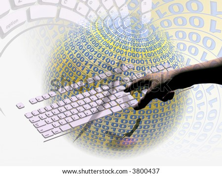 A free interpretation of an internet connection via keyboard, data streams.  Communication concept - stock photo